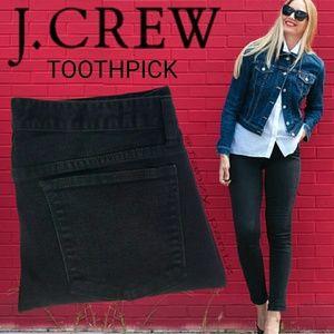 J. Crew Toothpick jeans black ankle skinny 28